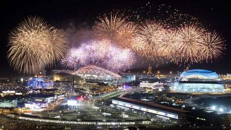 Fireworks explode over Olympic Park at the end