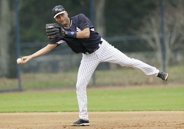Derek Jeter throws to second base during spring
