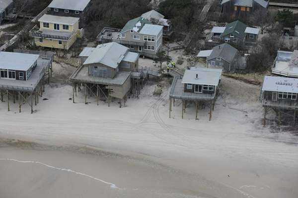 An aerial shot of Fire Island and a