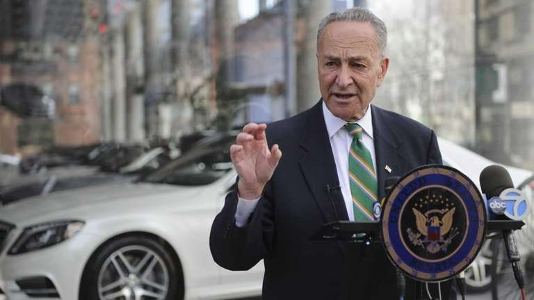 U.S. Senator Charles Schumer holds a news conference
