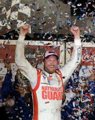 Dale Earnhardt Jr. celebrates in Victory Lane after