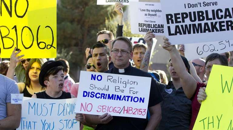 Opponents of the SB1062, a religious freedom bill,