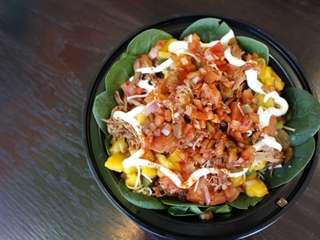 A salad is topped with sweet chipotle pork