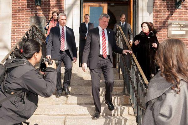 Mayor Bill de Blasio holds presser at the