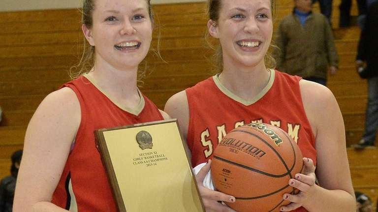 Sachem East guard Katie Doherty, left, and guard/forward