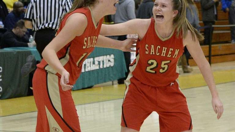 Sachem East guard Katie Doherty, right, and guard/forward