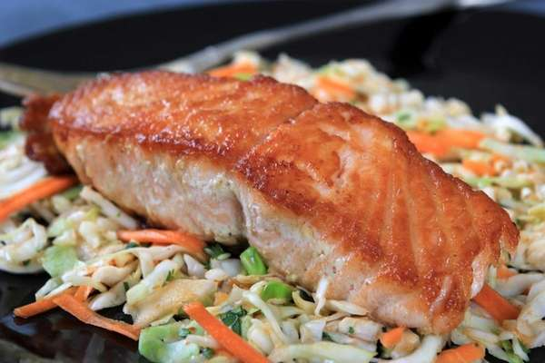 Honey-lime glazed salmon.