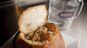 Chicken and andouille gumbo in bread bowl is