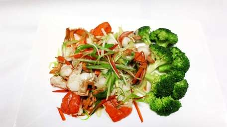 Lobster with scallion and ginger is tender and