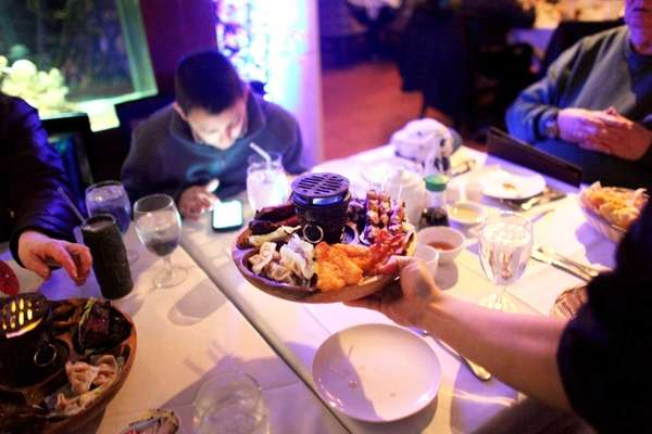 A pu pu platter is served at New