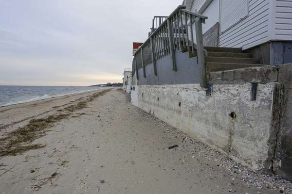 Views of the Long Island Sound beach erosion
