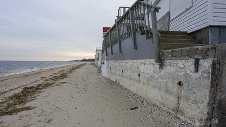 Views of the Long Island Sound beach erosion