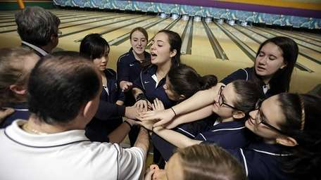 The St. Dominic girls bowling team lets out