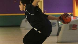 St. Dominic's Bailey Lubrano bowls Tuesday, Feb. 25,