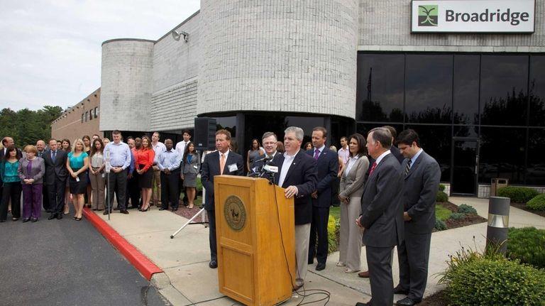 Broadridge Financial Solutions sign on Aug 20, 2012.