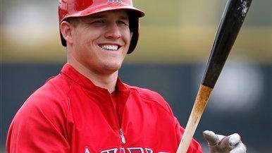 Los Angeles Angels outfielder Mike Trout smiles as