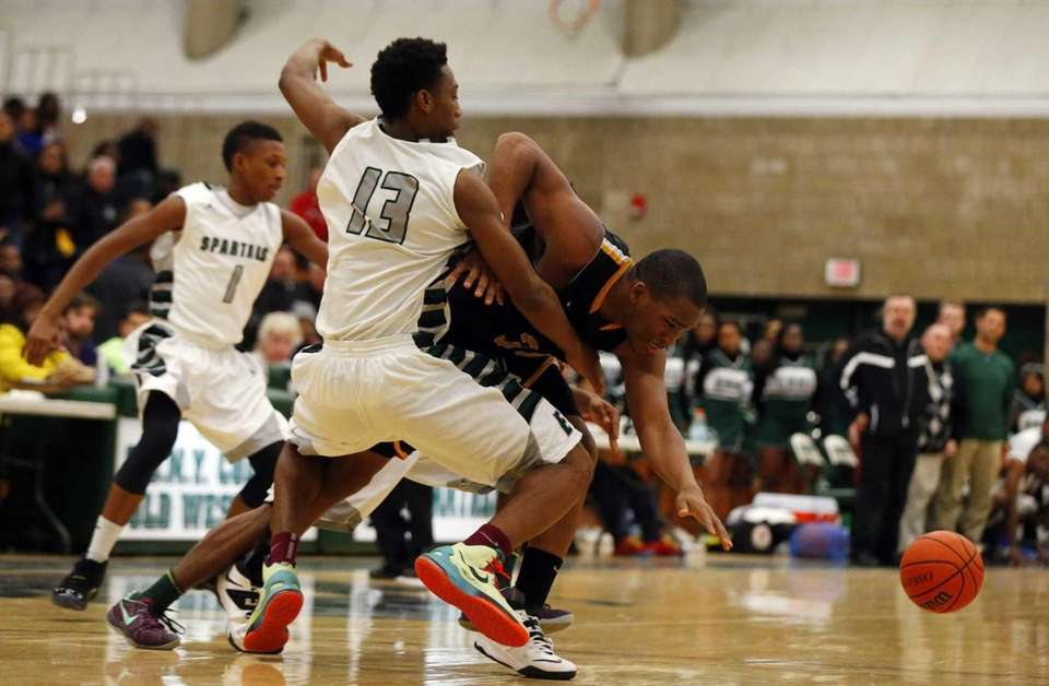 Alan McDonald of the Uniondale Knights loses the
