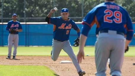 Ruben Tejada during spring training practice at Port