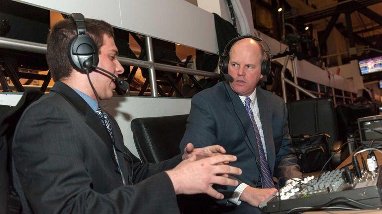 Hofstra's Julian Coltre, left, and radio announcer Chris