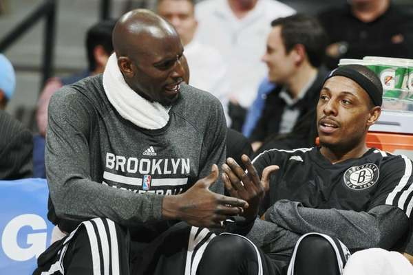 Nets forwards Kevin Garnett, left, and Paul Pierce
