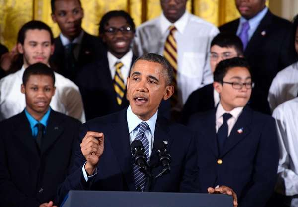 President Barack Obama speaks in the East Room