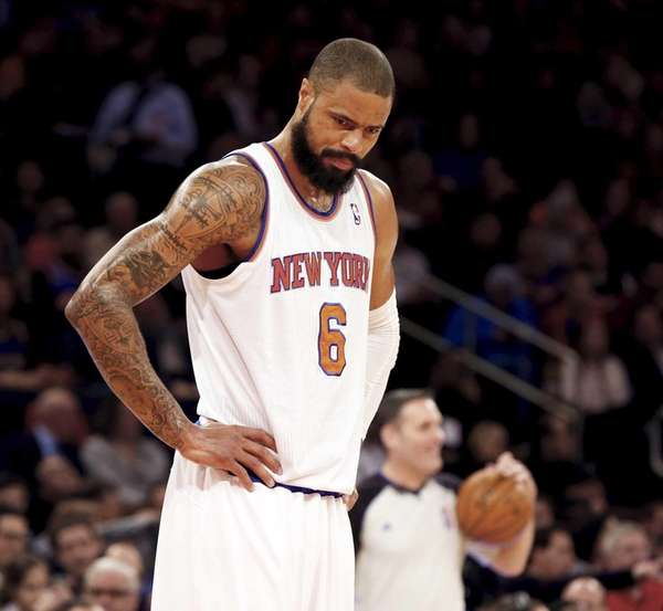 Tyson Chandler of the Knicks looks on against
