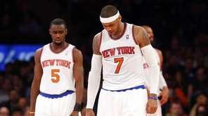 Carmelo Anthony and Tim Hardaway Jr. of the