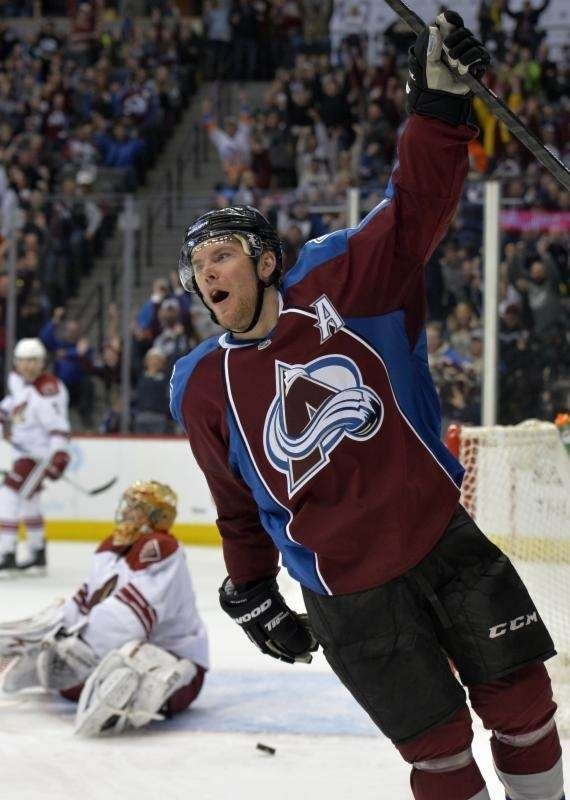 Colorado Avalanche center Paul Stastny celebrates a goal