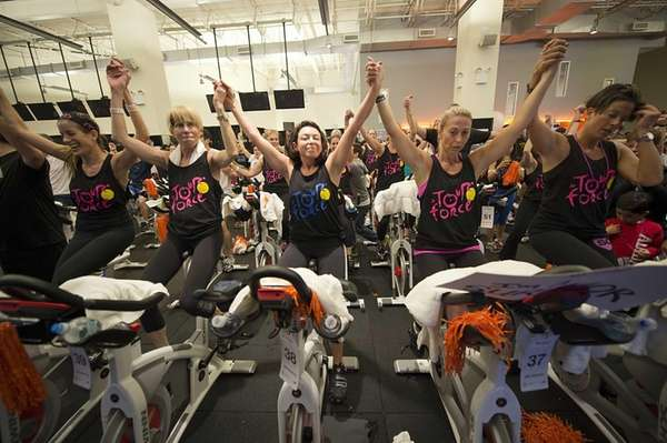 Hundreds of cyclists spinning during the Cycle for