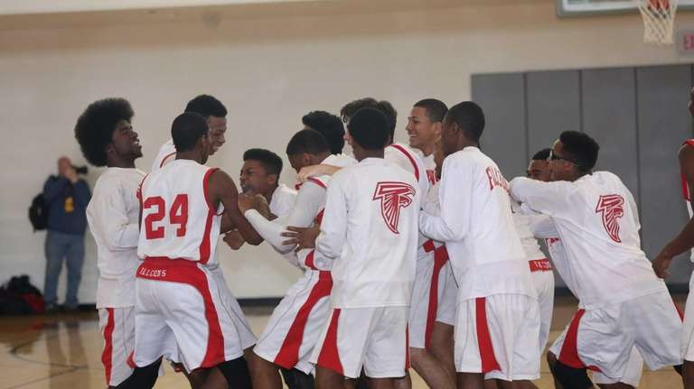 Valley Stream South celebrates after defeating Hewlett, 66-56,