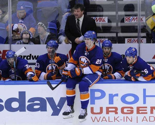 Jack Capuano reacts during action against the Florida