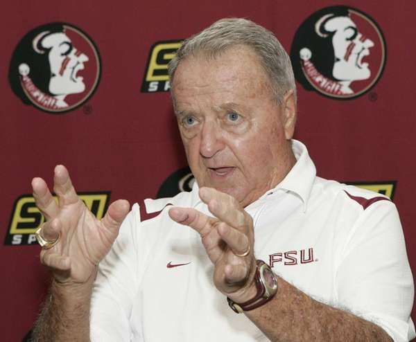 Florida State head coach Bobby Bowden answers questions