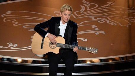 Host Ellen DeGeneres onstage during the Oscars at