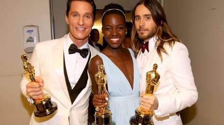 From left, Matthew McConaughey, Lupita Nyong'o and Jared
