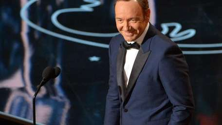 Kevin Spacey speaks during the Oscars at the