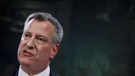 New York City Mayor Bill de Blasio, seen