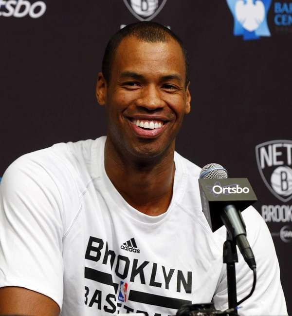 Jason Collins of the Brooklyn Nets speaks with