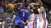 Knicks forward Amar'e Stoudemire drives on Detroit Pistons