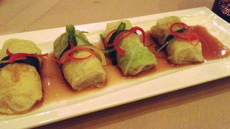 Bok choy-wrapped sea bass rolls are one of