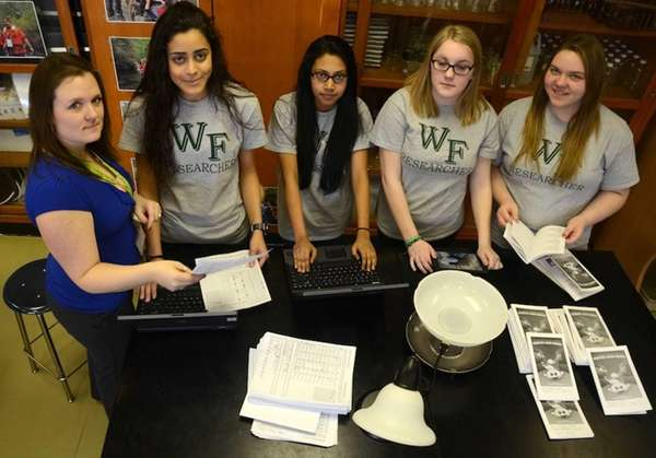 From the left, William Floyd High School research