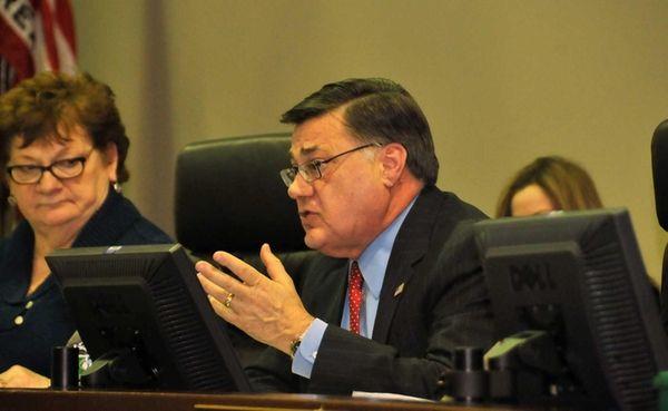 Brookhaven Supervisor Ed Romaine speaks in Yaphank at