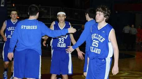 Shelter Island players celebrate after defeating Clark Academy