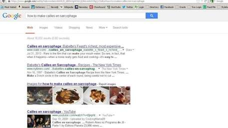 A screen shot of the Google search,