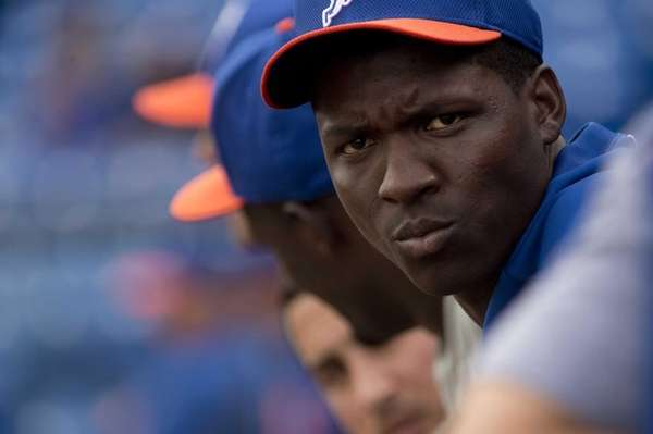 Mets pitcher Rafael Montero looks on during spring