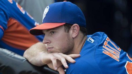 Mets pitcher Steven Matz looks on during spring