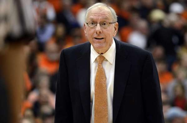 Syracuse head coach Jim Boeheim reacts to the