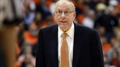 Syracuse head coach Jim Boeheim reacts to the