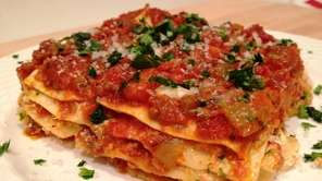 Classic Italian-American lasagna is made with meat sauce,