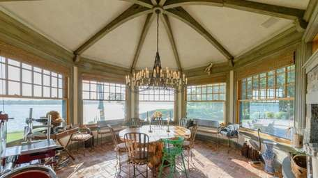 The breakfast room of this Shelter Island home
