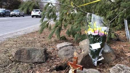 A memorial at the scene where two 19-year-old